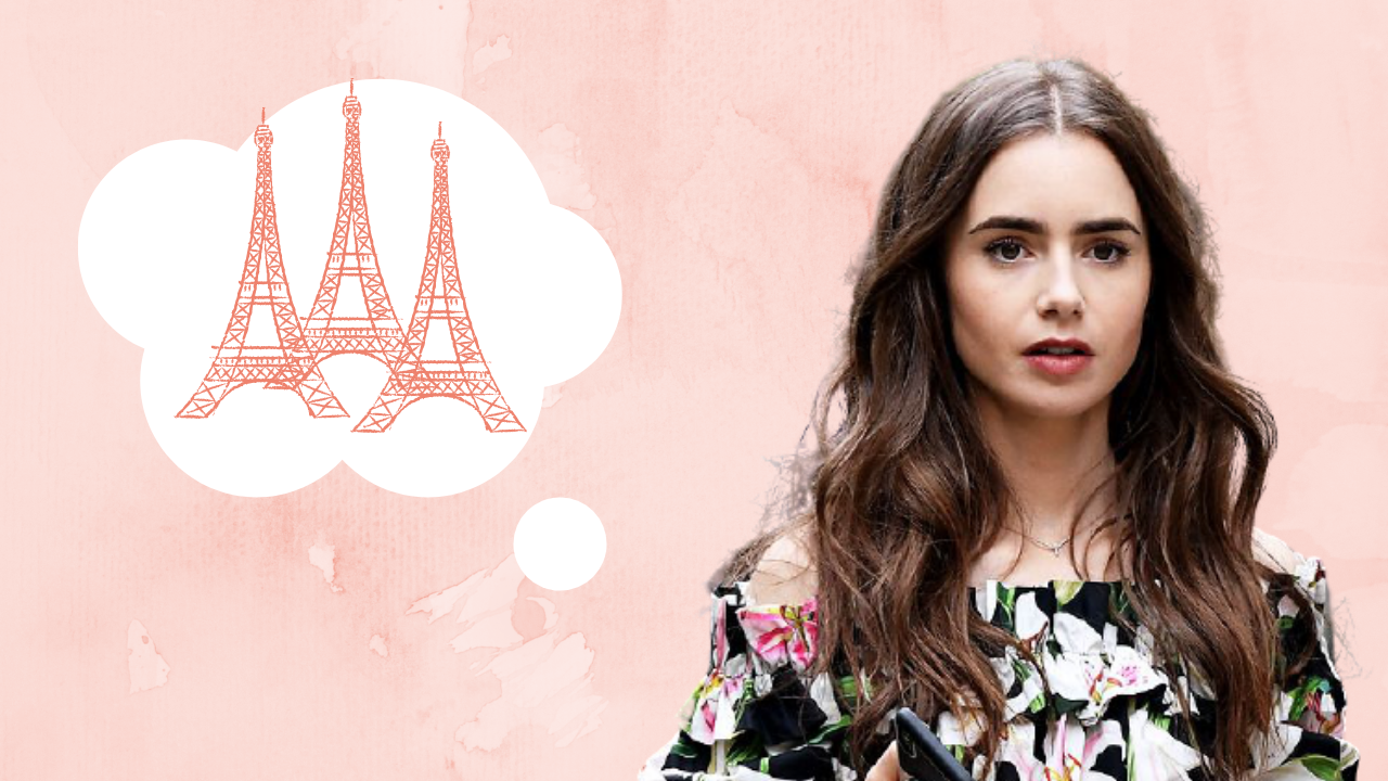 Actor Lily Collins, who plays the titular Emily in Paris, on a pink background with a thought bubble with Eiffel Towers in it
