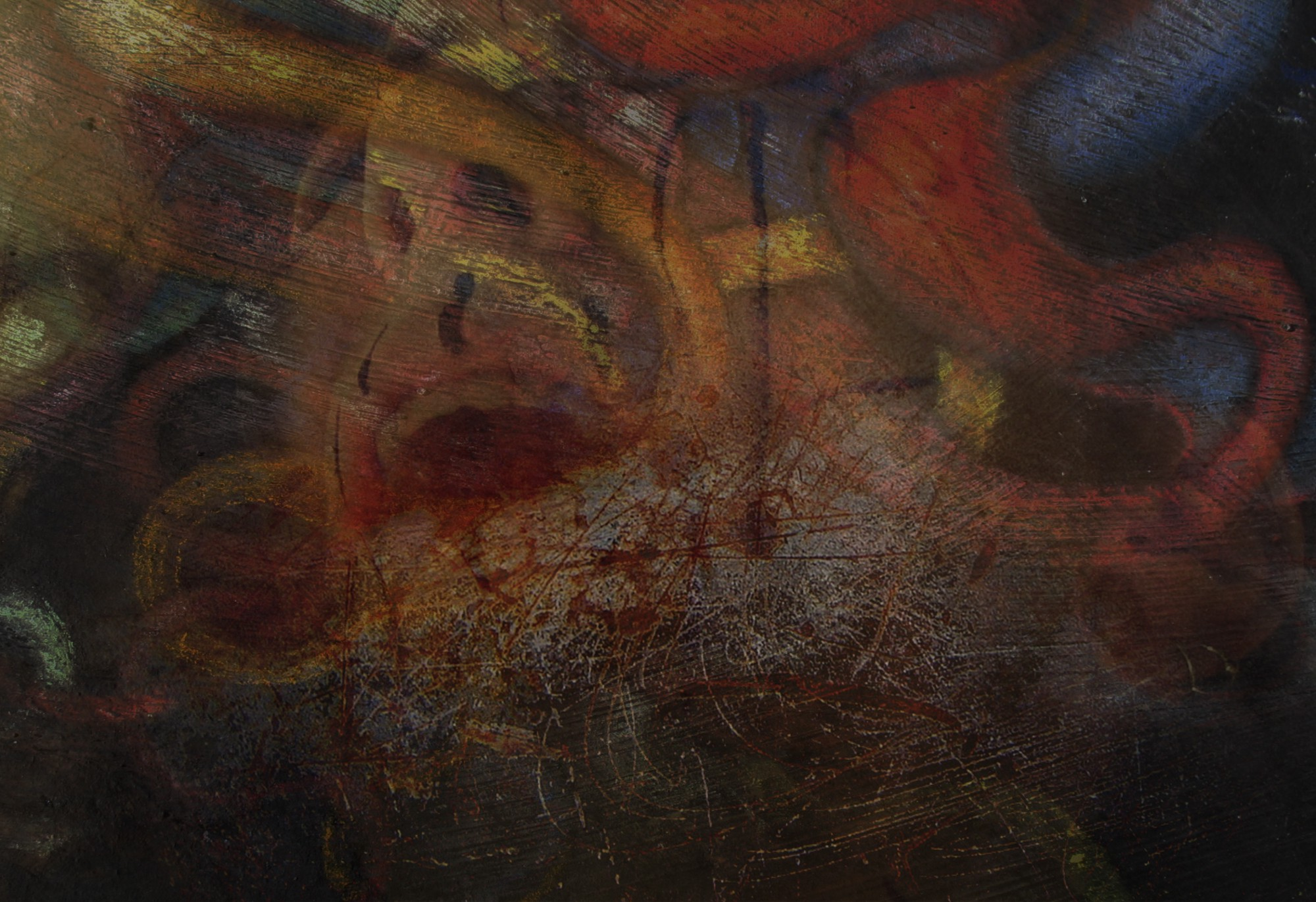 Composite image of an open mouth expressing pain, chalk drawn tentacles and scratched metal textures. The palette is dark.