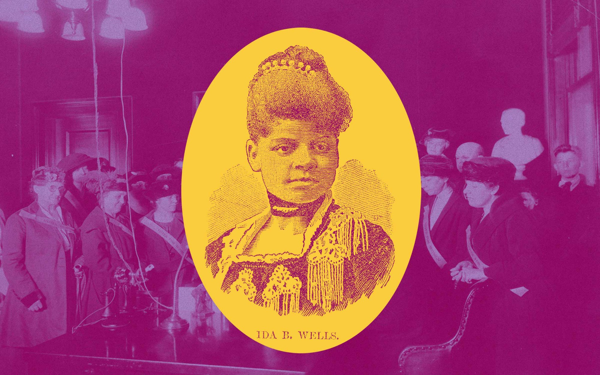 Photo illustration of a portrait of Ida B. Wells against a background image of women voters.