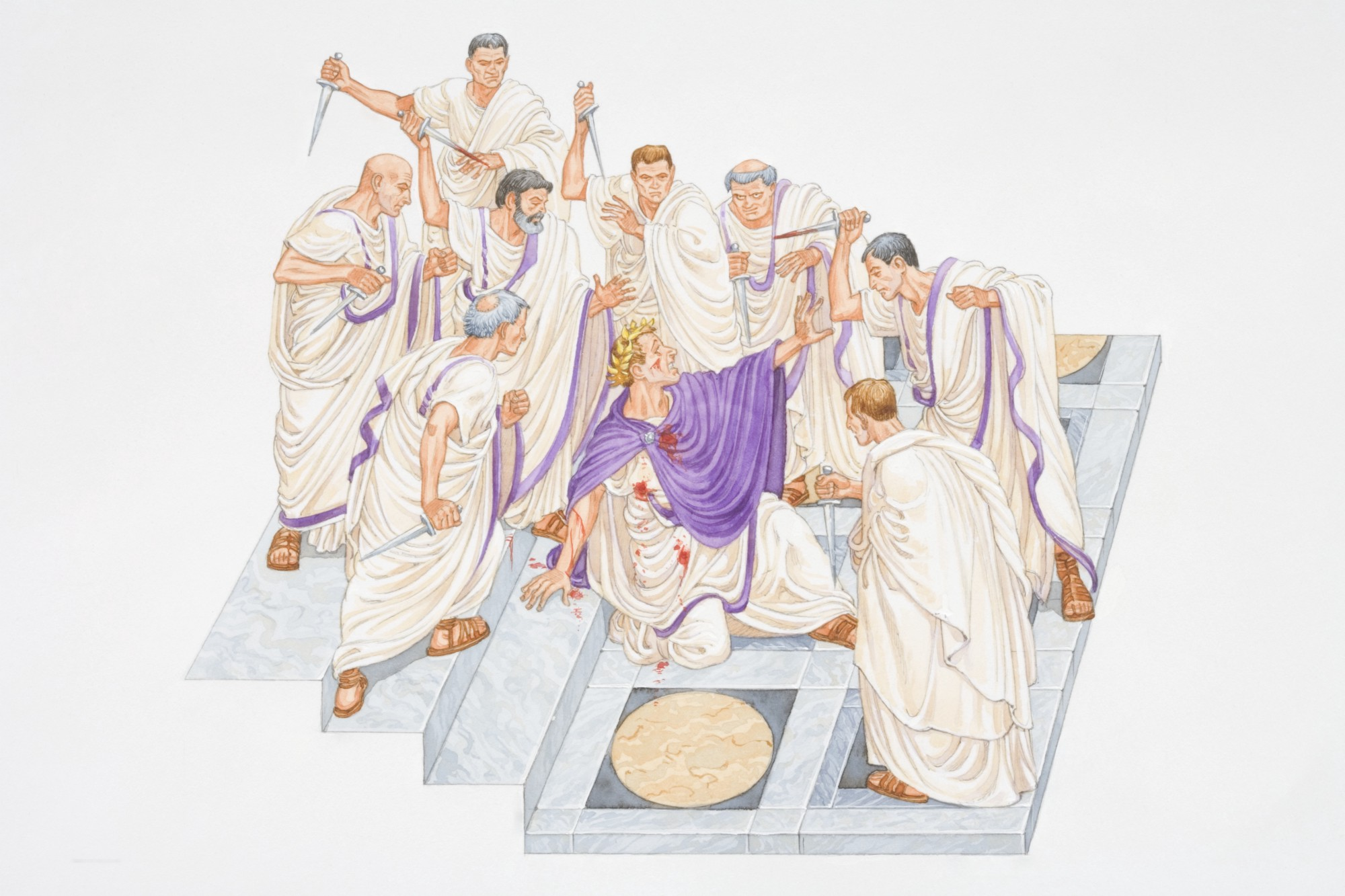 An illustration of Julius Caesar collapsed, wounded, amidst a group of Romans brandishing daggers.