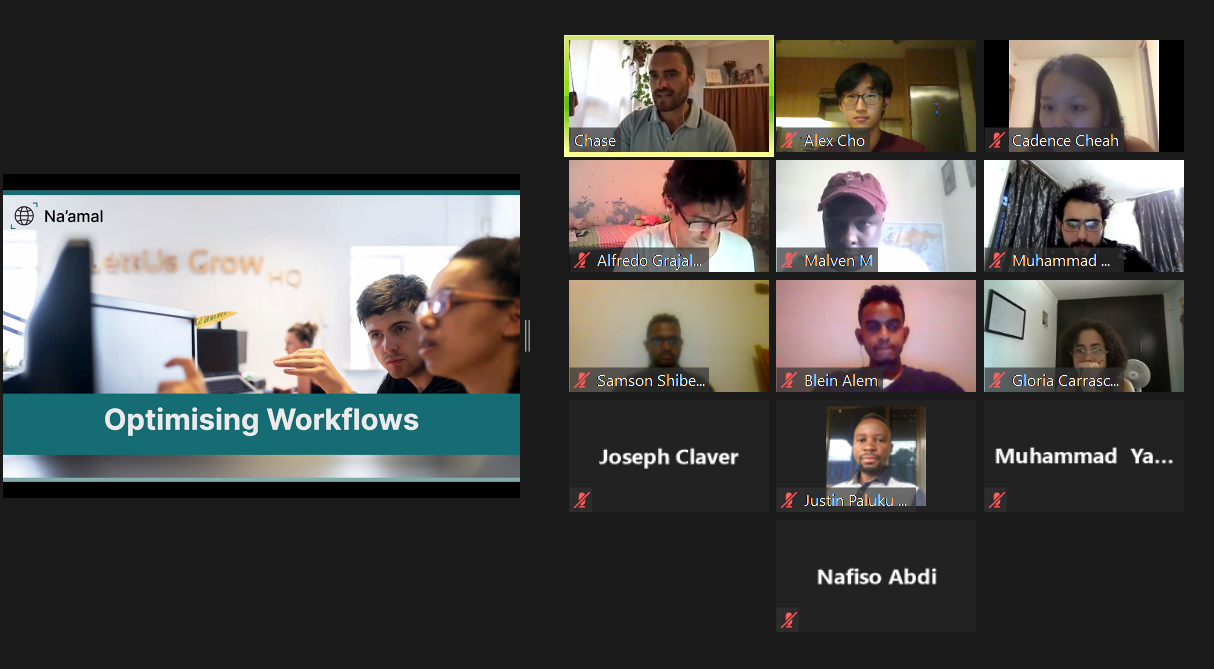"""A slide reading """"Optimising Workflows"""" on an online meeting showing participants of different nationalities and ethnicities."""