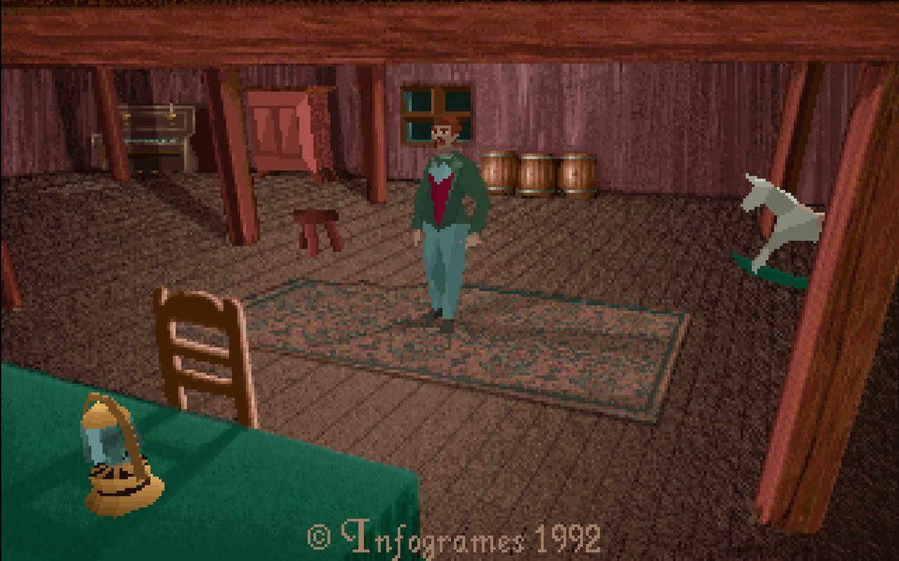 Screenshot of the game, very first playable screen, a man wearing tweed is seen standing in an attic.