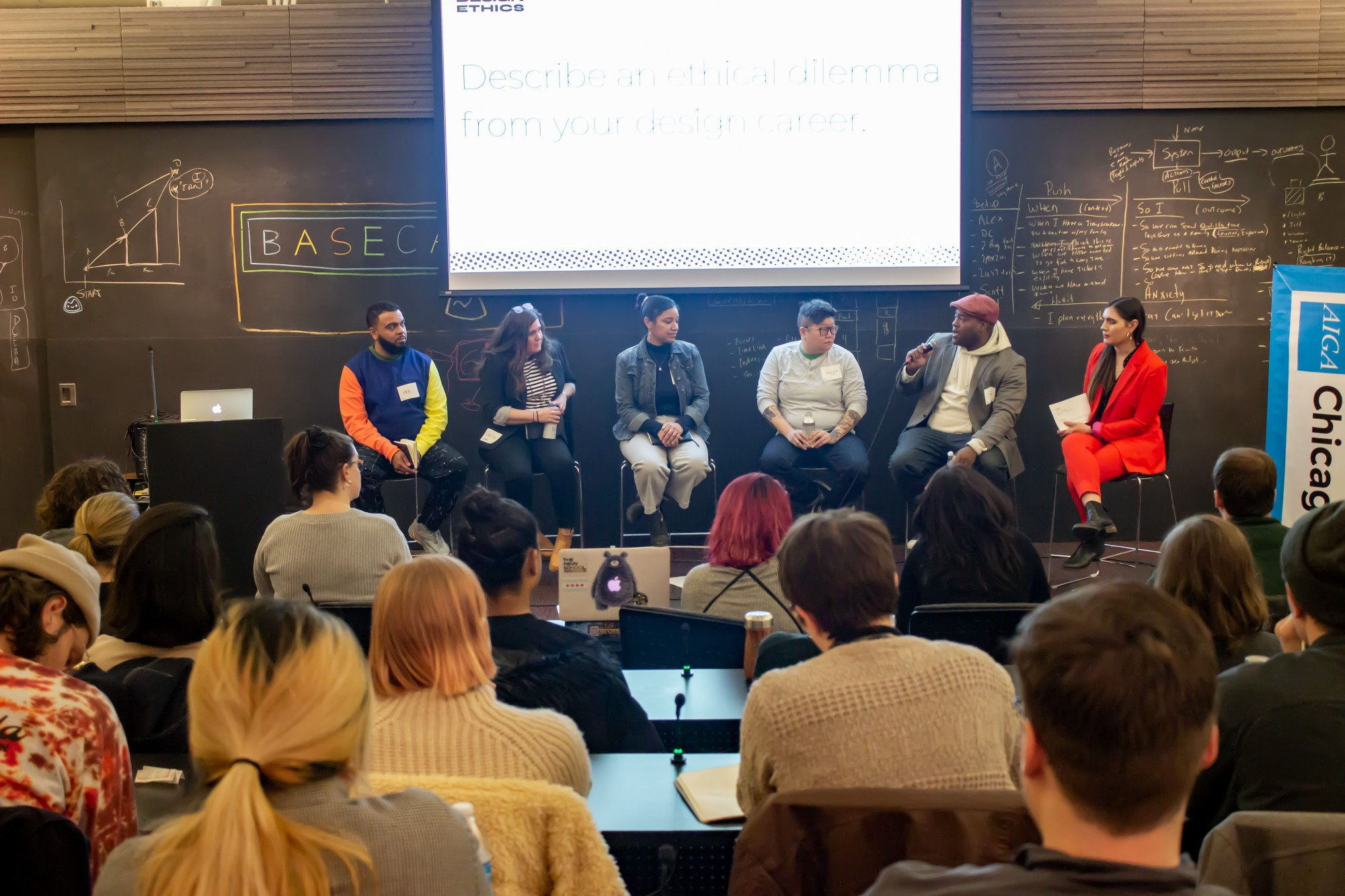 Image of panel discussion at the AIGA Chicago Design Ethics Roundtable event, hosted at Basecamp.