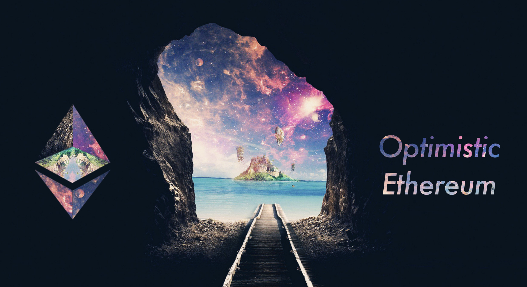 "Mystical island landscape emerging at the end of a long tunnel, flanked by an Ethereum logo and ""Optimistic Ethereum""."