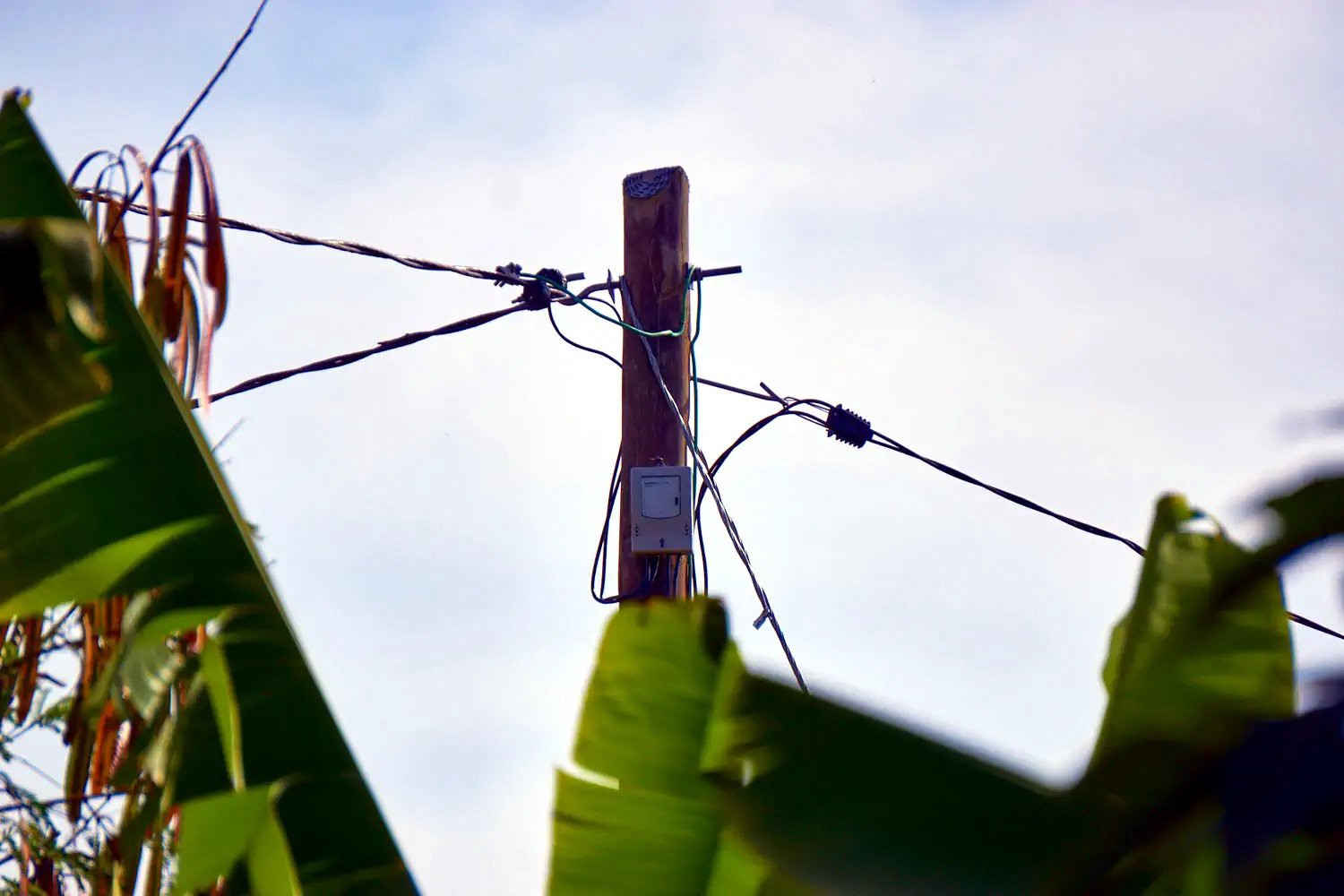 A meter made by SparkMeter measures electricity consumption and the health of the grid on a micro-grid in Haiti