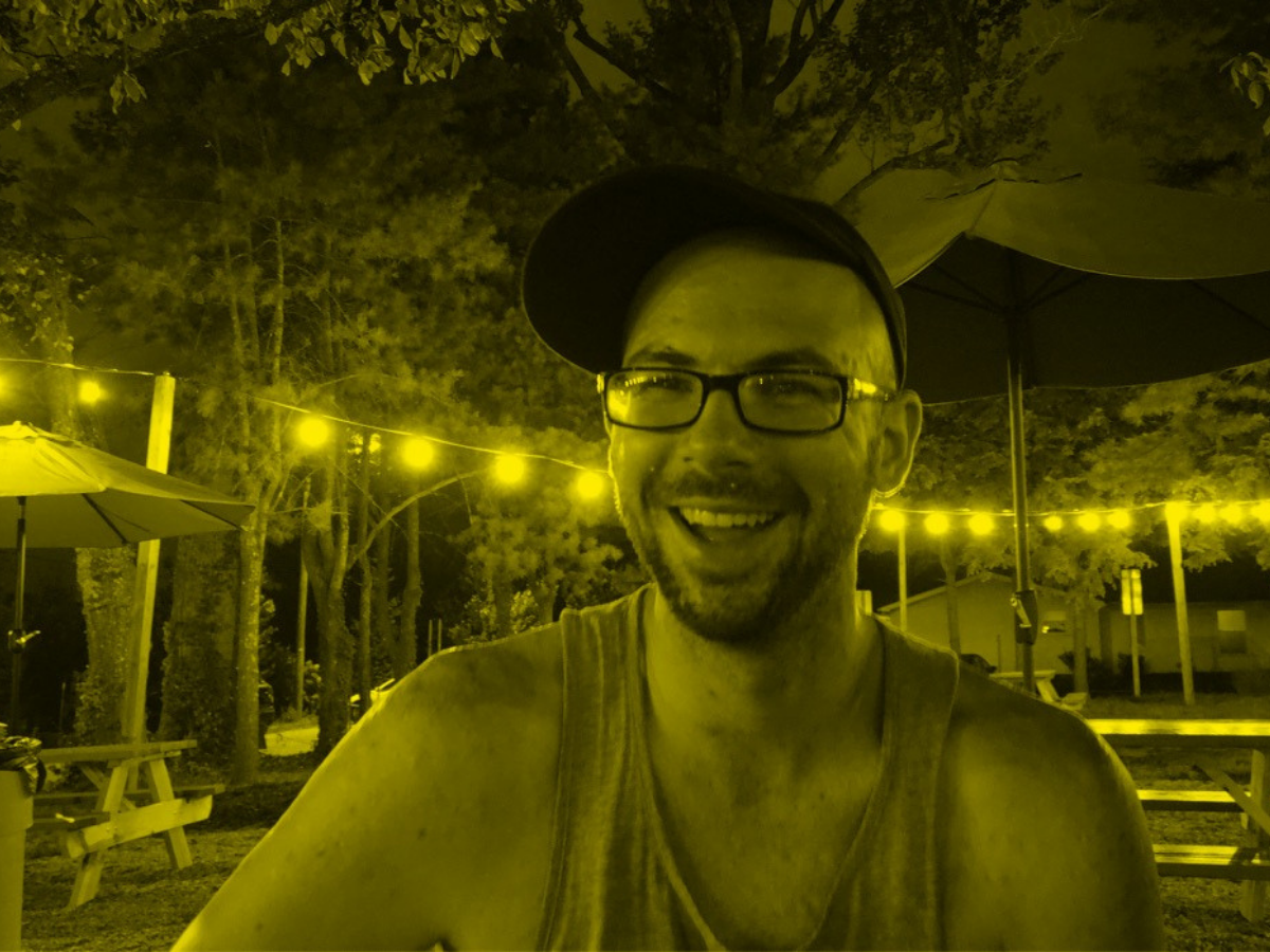 Chris Fritz seated at an outdoor restaurant in North Carolina