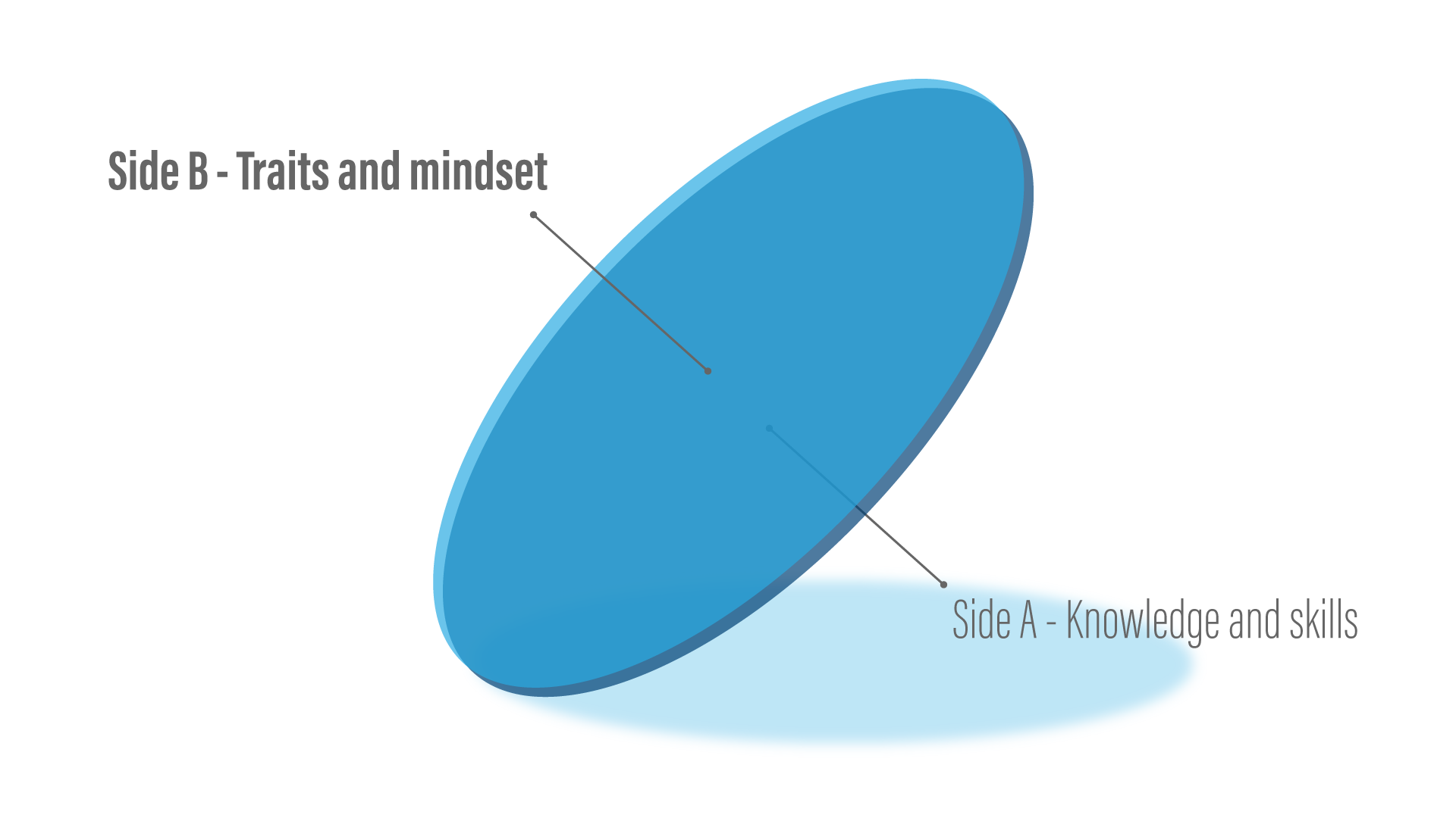 Conceptual diagram showing the side A of the coin is knowledge and skill, while the side B is traits and mindset.