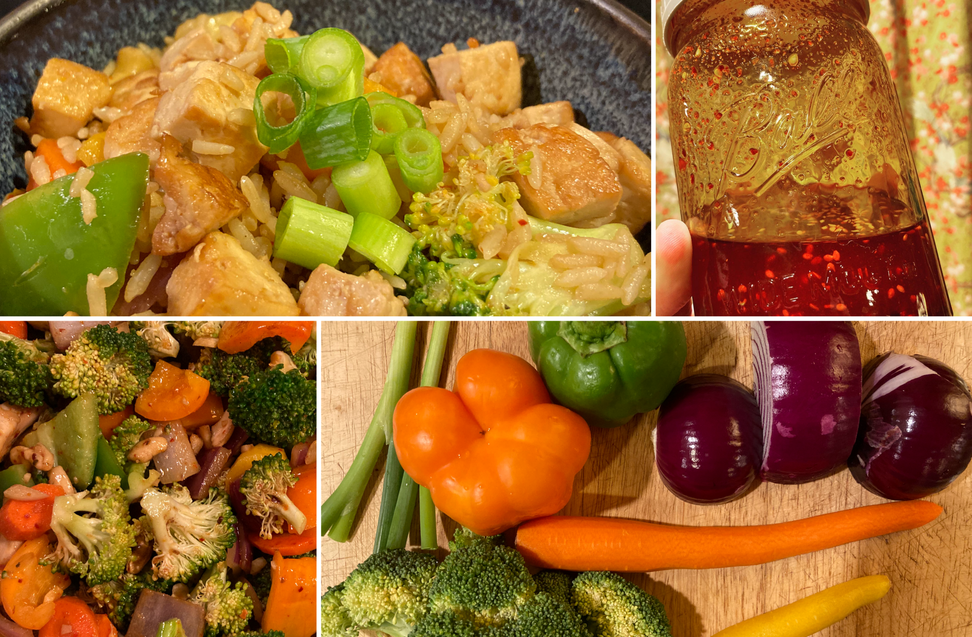 Collage: bowl of finished dish, chili oil being held up, shot of fried veggies/nuts, raw veggies on a cutting board