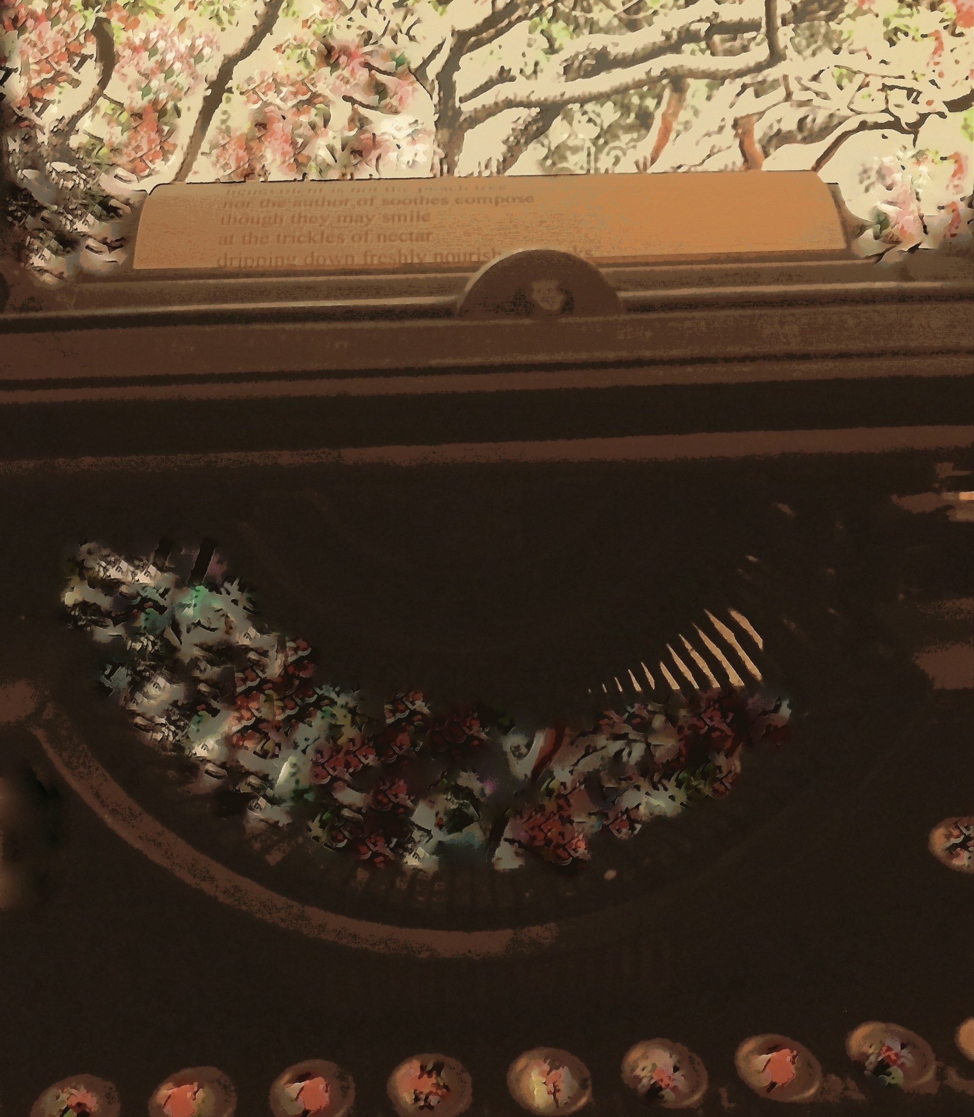 Photograph of my typewriter immersed in a peach tree the buttons are marked with blosoms