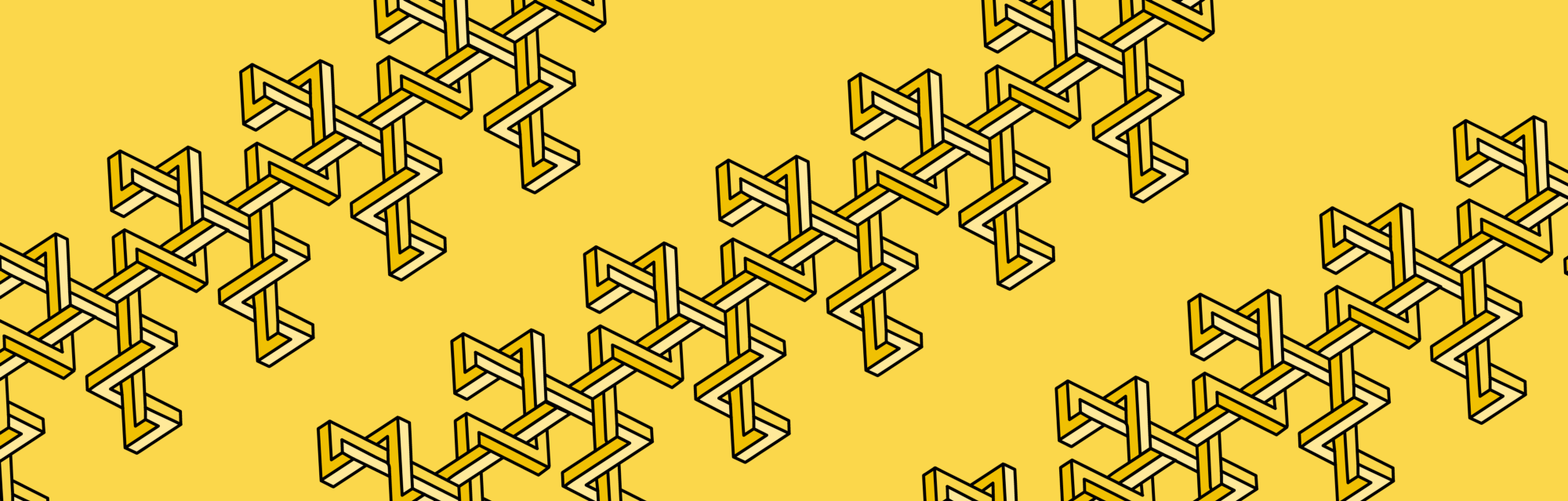 Shapes intertwine against a yellow background, making a geometric pattern