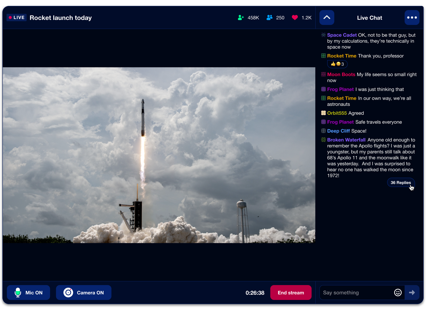 A livestream video of a NASA launch with an accompanying chat including threads and replies.