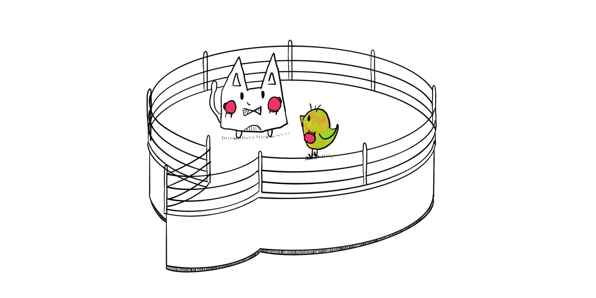 Cat and chicken sparring in a chat bubble shaped boxing ring