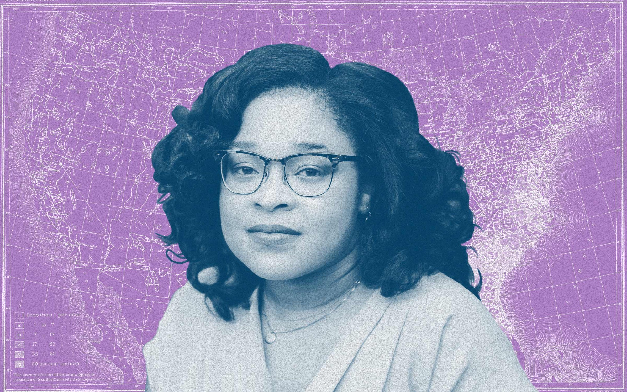 Photo treatment of a close-up photo of Morgan Jerkins against a violet-colored map of the Great Migration in the background.