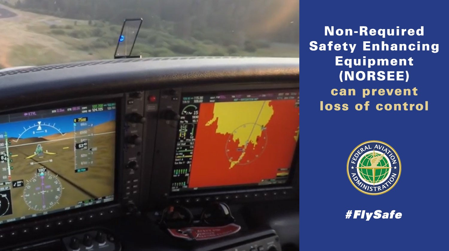 Graphic showing an AOA indicator and terrain avoidance.