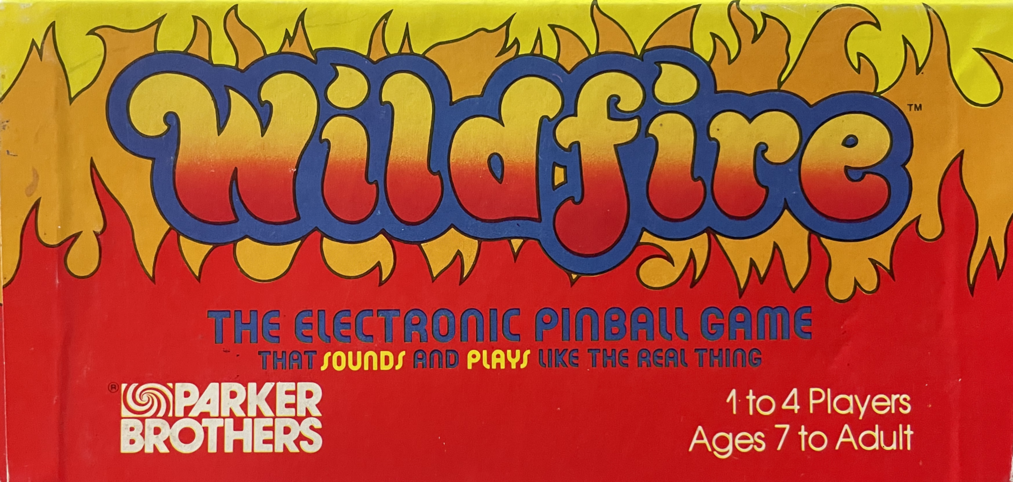 Wildfire Pinball by Parker Brothers (1979) — side panel of box