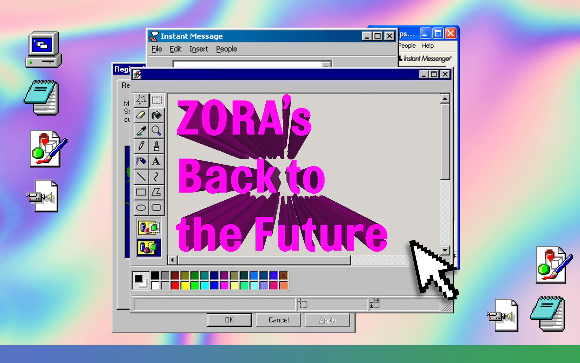 "Retro Windows 95 desktop design with ""ZORA's Back to the Future"" in Wordart on a Microsoft Paint window."