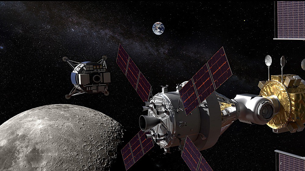 Two spacecraft orbit the Moon while another travels to the lunar surface.