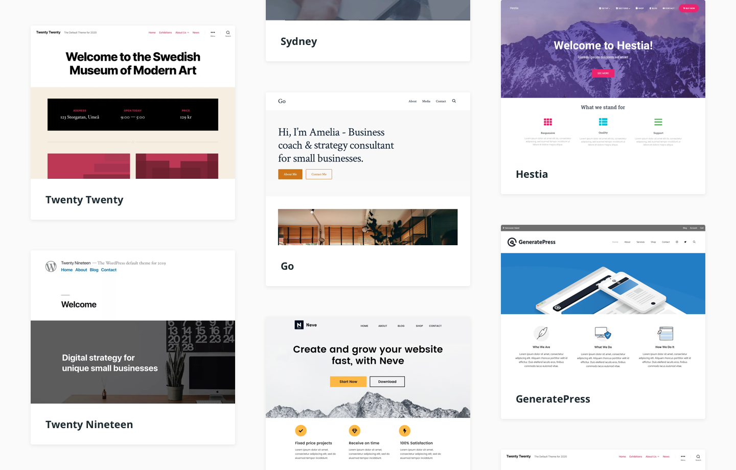 Gallery with an overview of popular WordPress themes