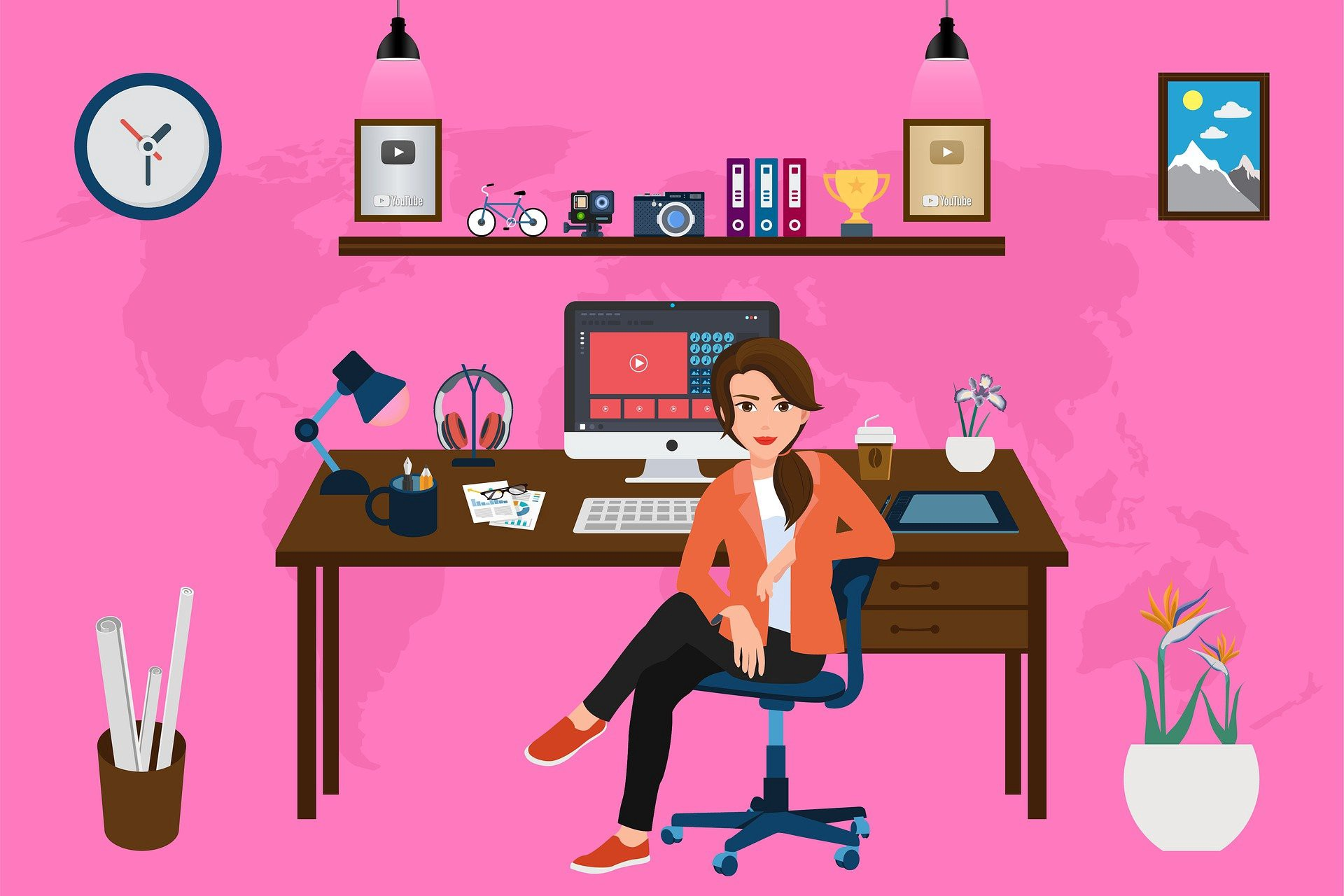 Woman in a home office with computer