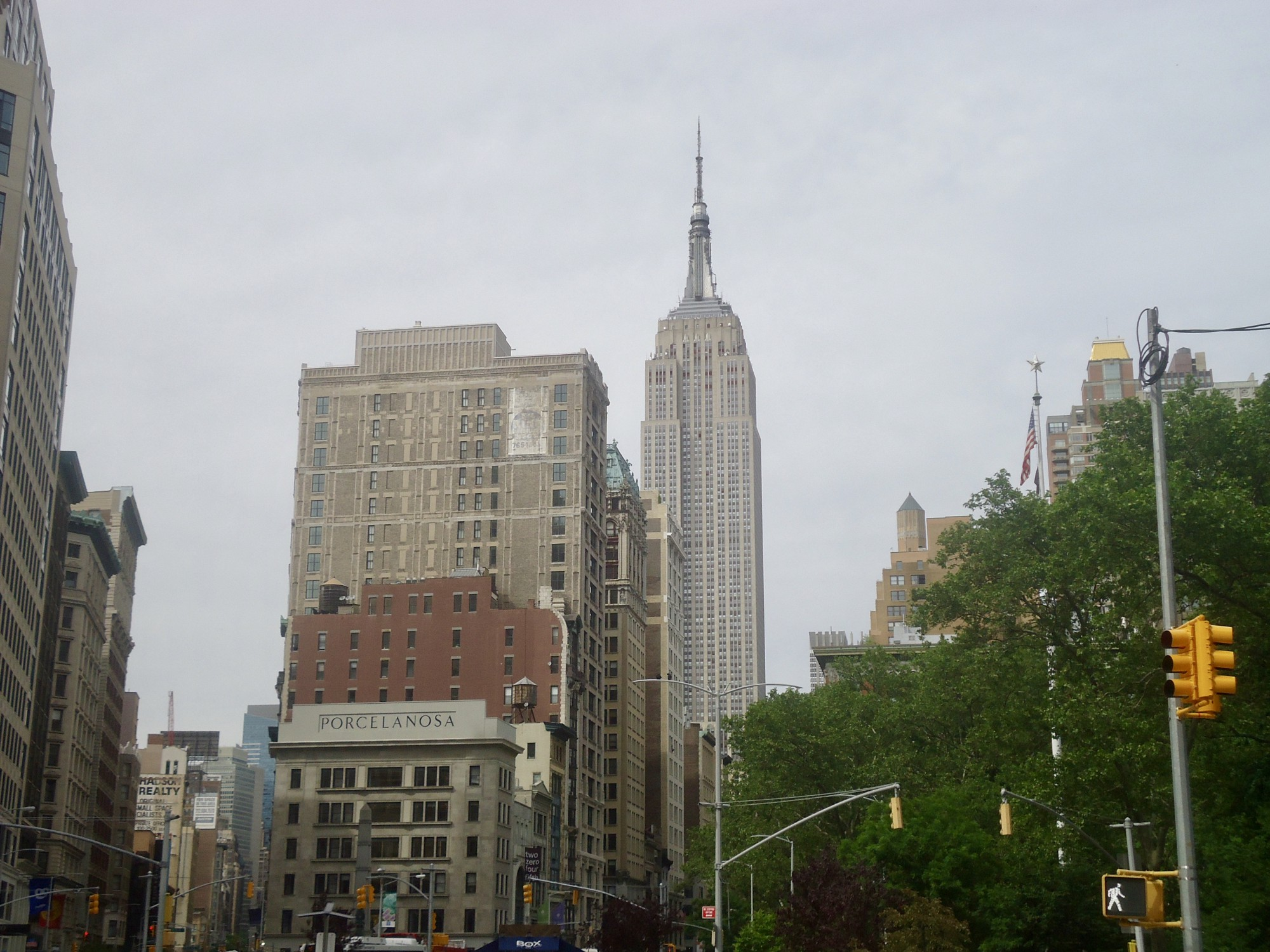 Empire State Building pictured from city streets of New York.