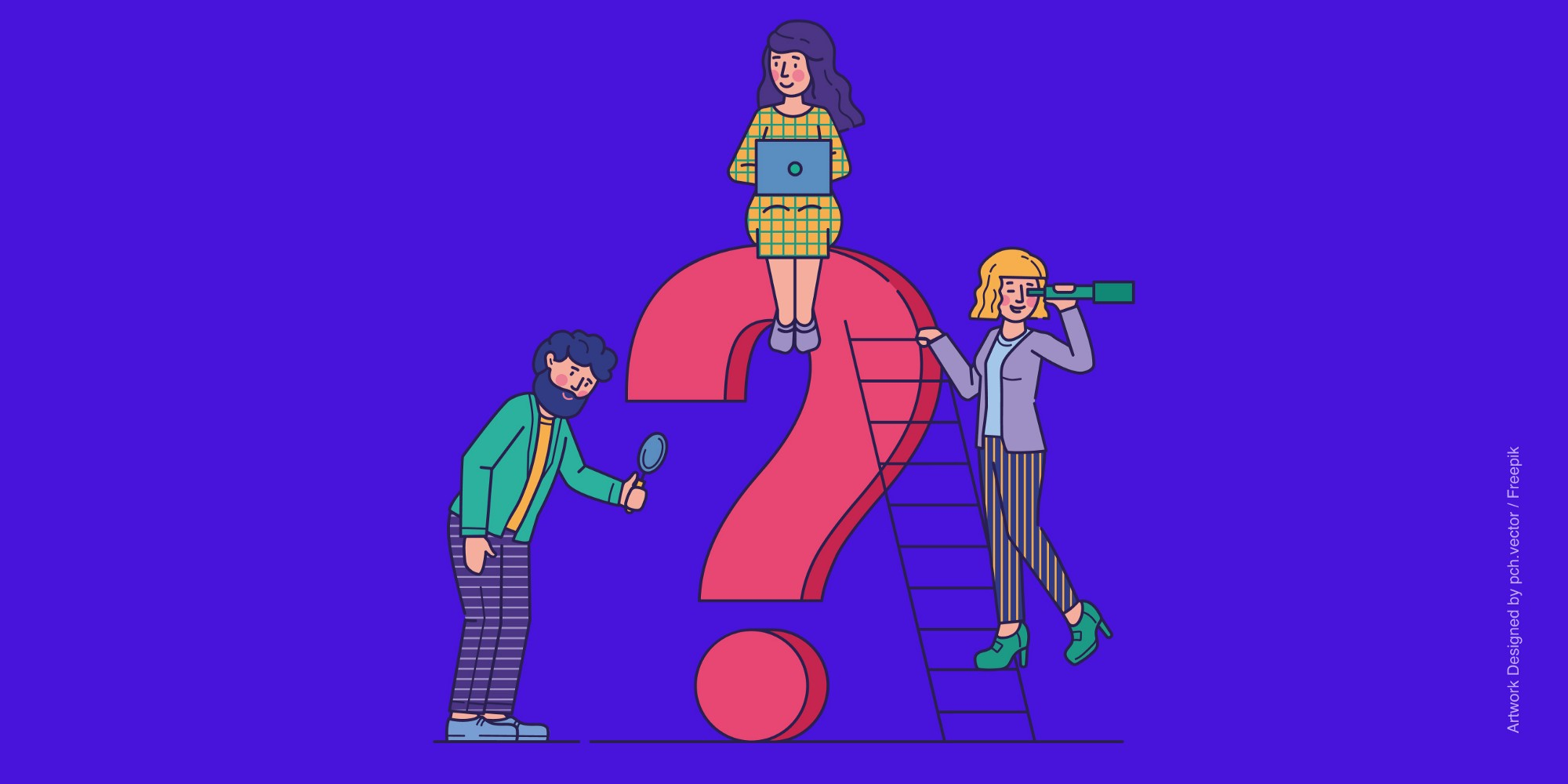Three Human illustrations near a Question Mark depicting a stakeholders meeting
