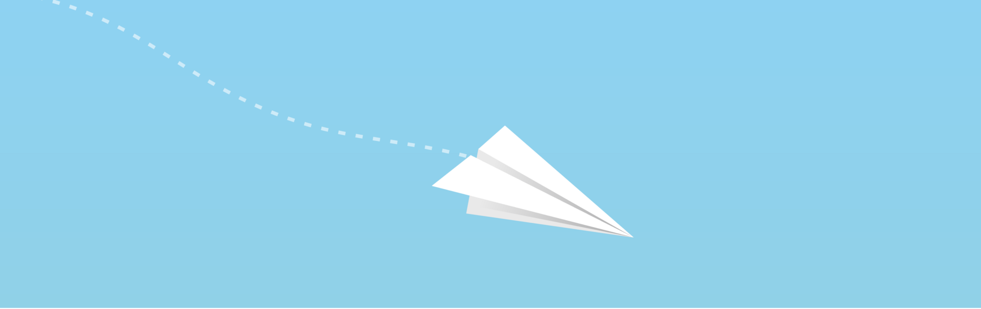 An illustration of a paper airplane drifting downwards.
