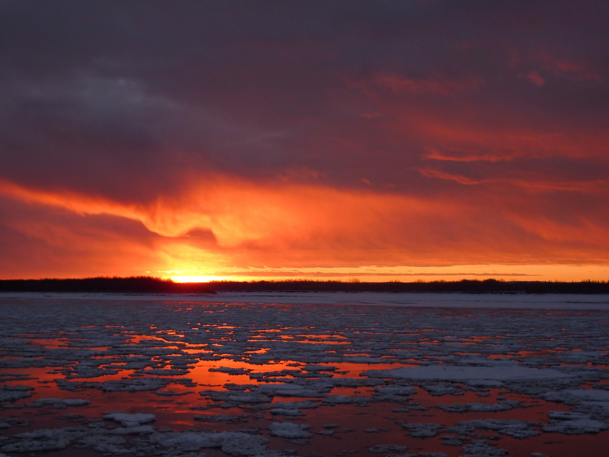 low sun over icy water