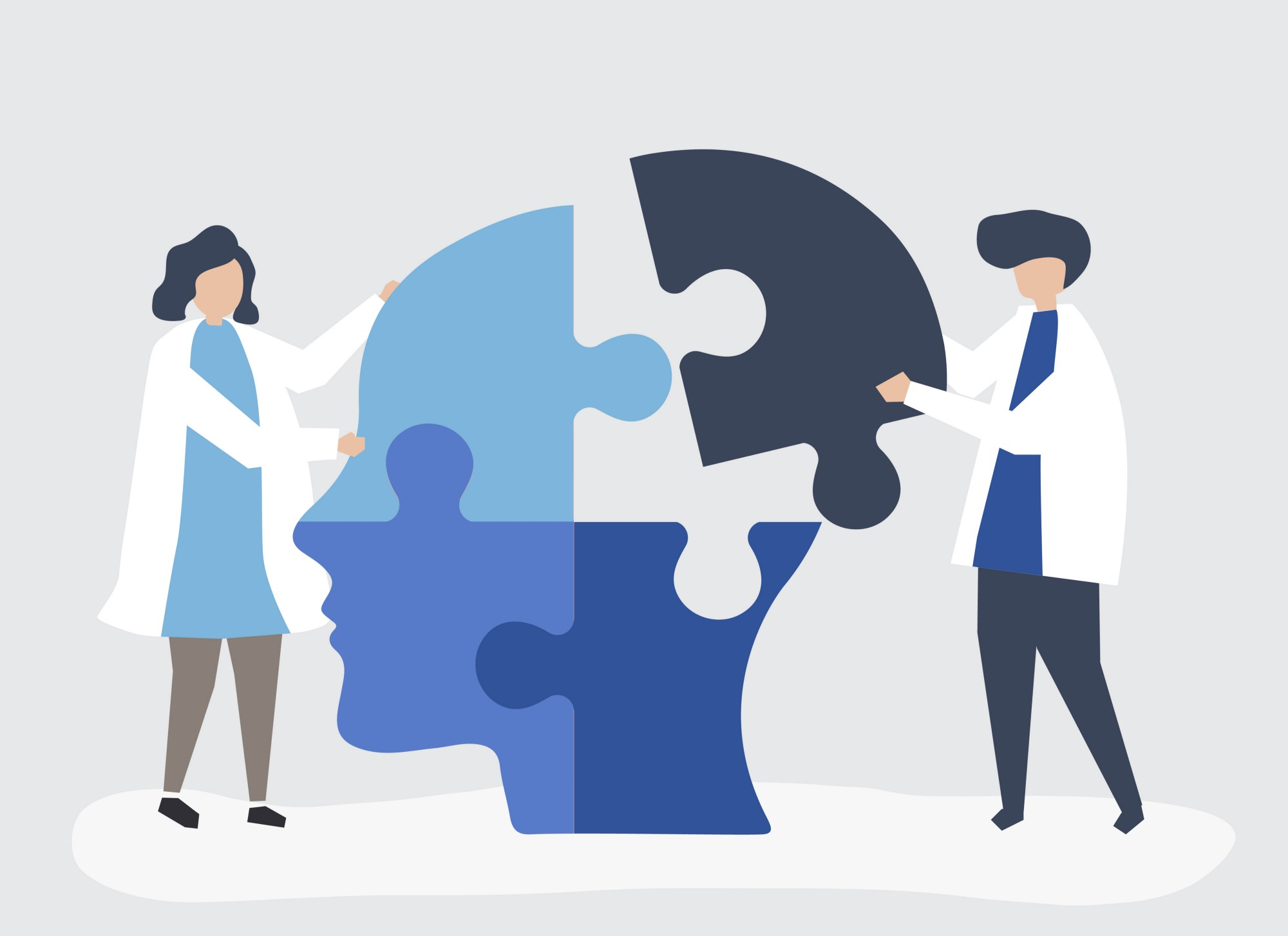 Vector of man and woman assembling a head out of jigsaw pieces