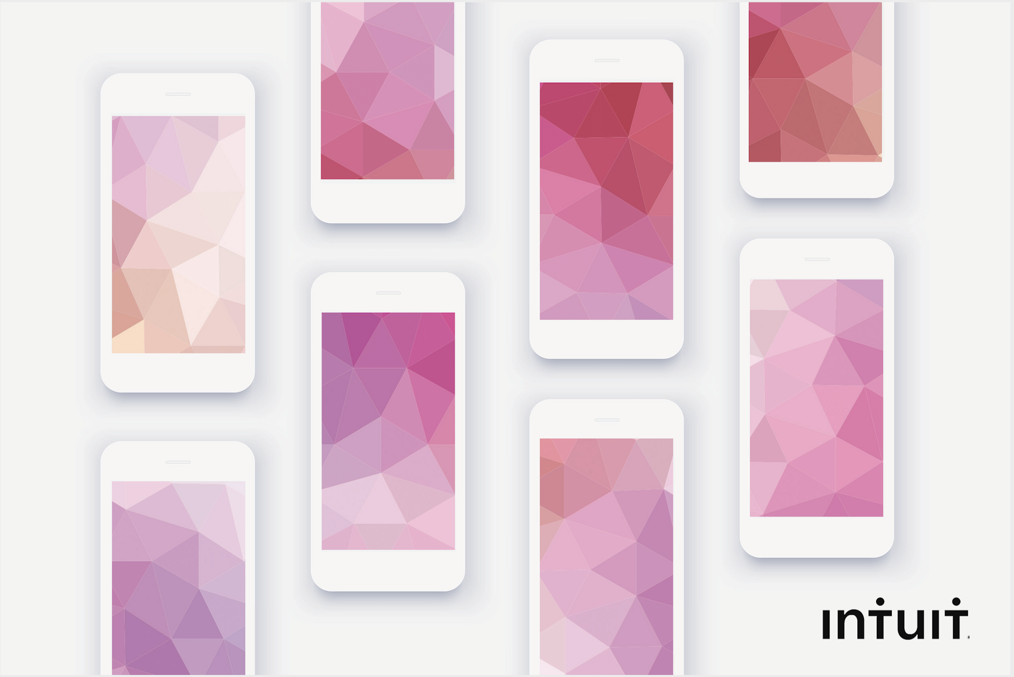 Abstract shapes extending across mobile screens like taxonomy