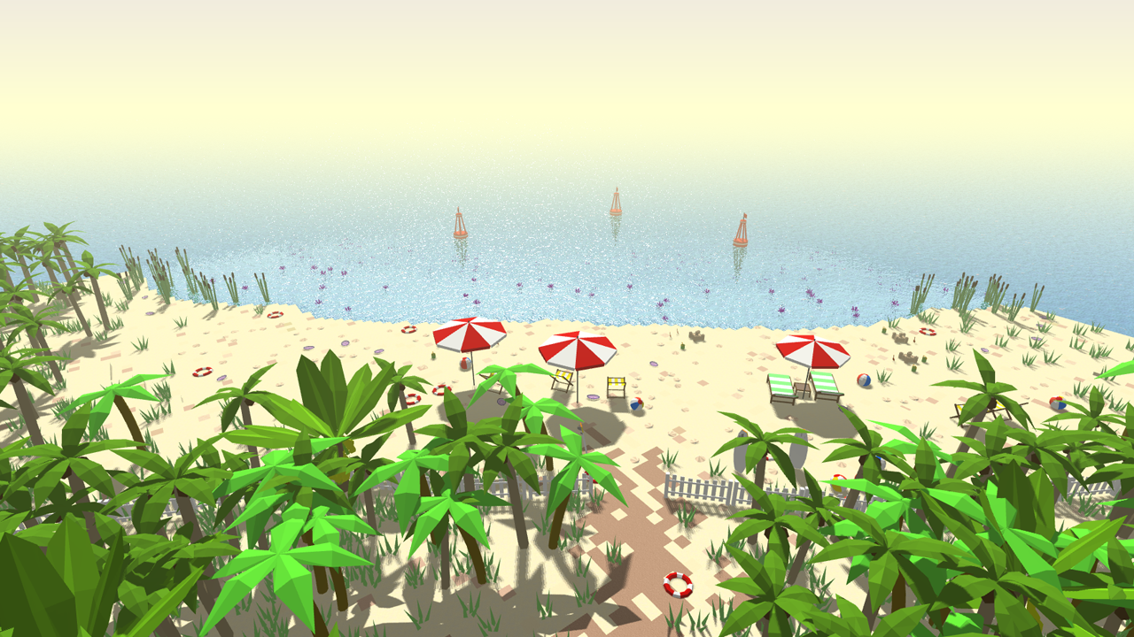 An image of a low poly beach scene looking at the ocean with some palm trees and beach items.