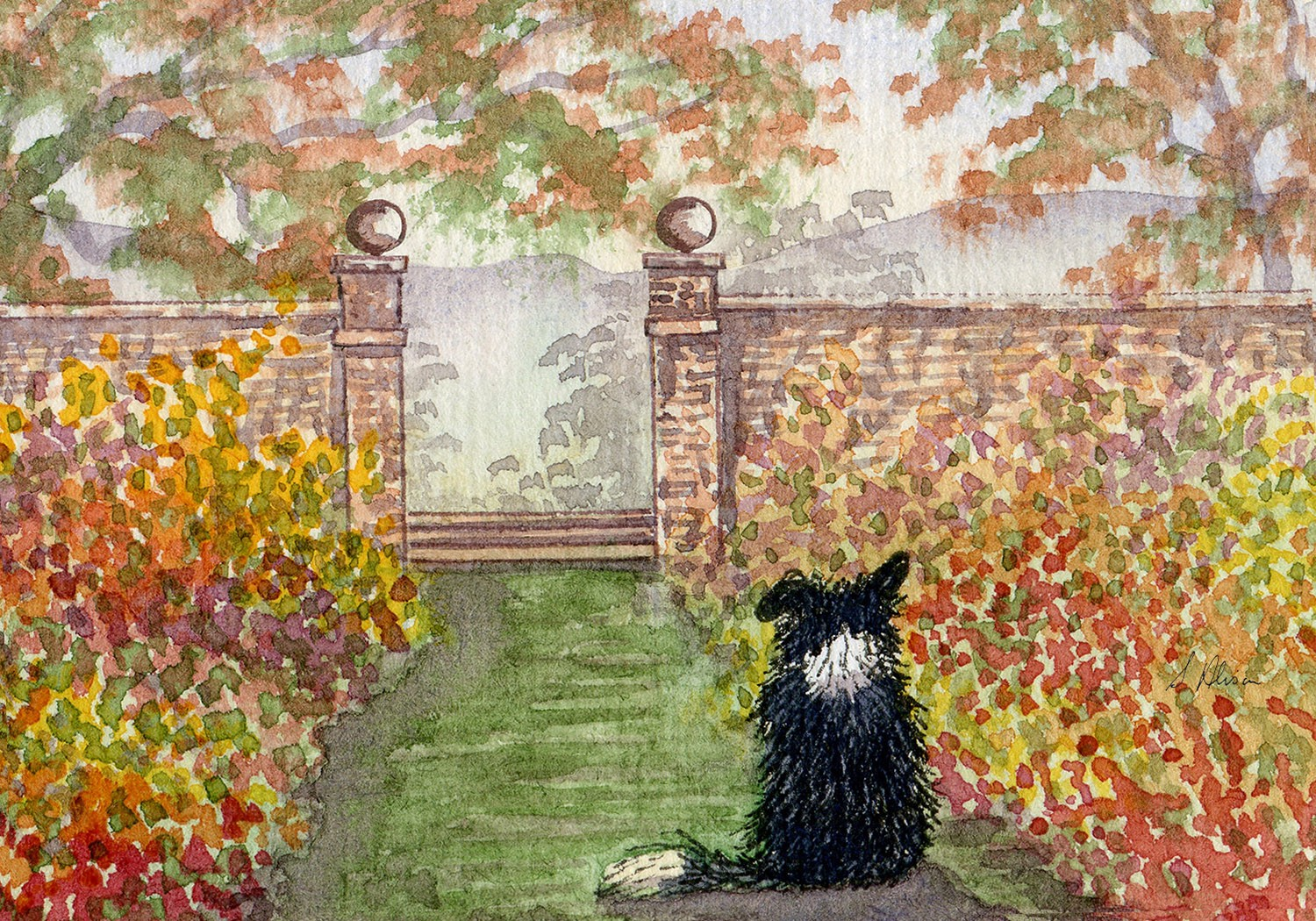Painting of a dog looking out at autumn