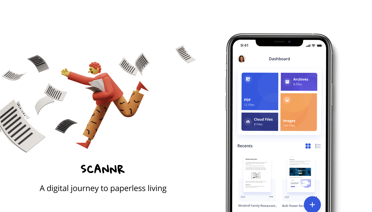 A background picture depicting a man chasing after papers and Scannr standing side by side.