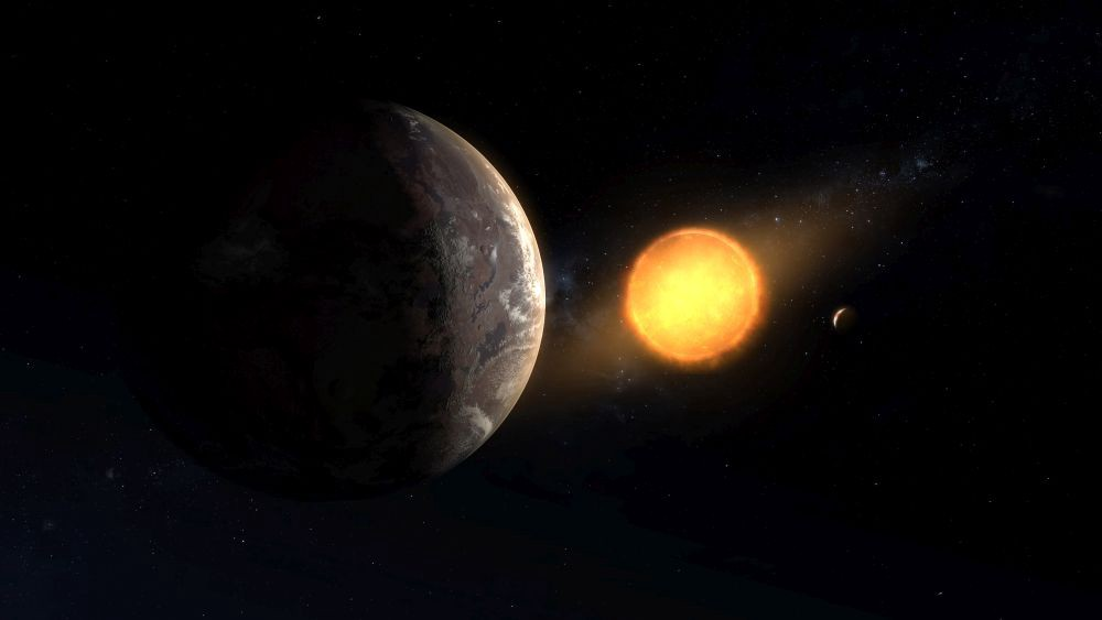 Kepler-1649c is seen orbiting around its red dwarf star with a smaller planet visible on the right.