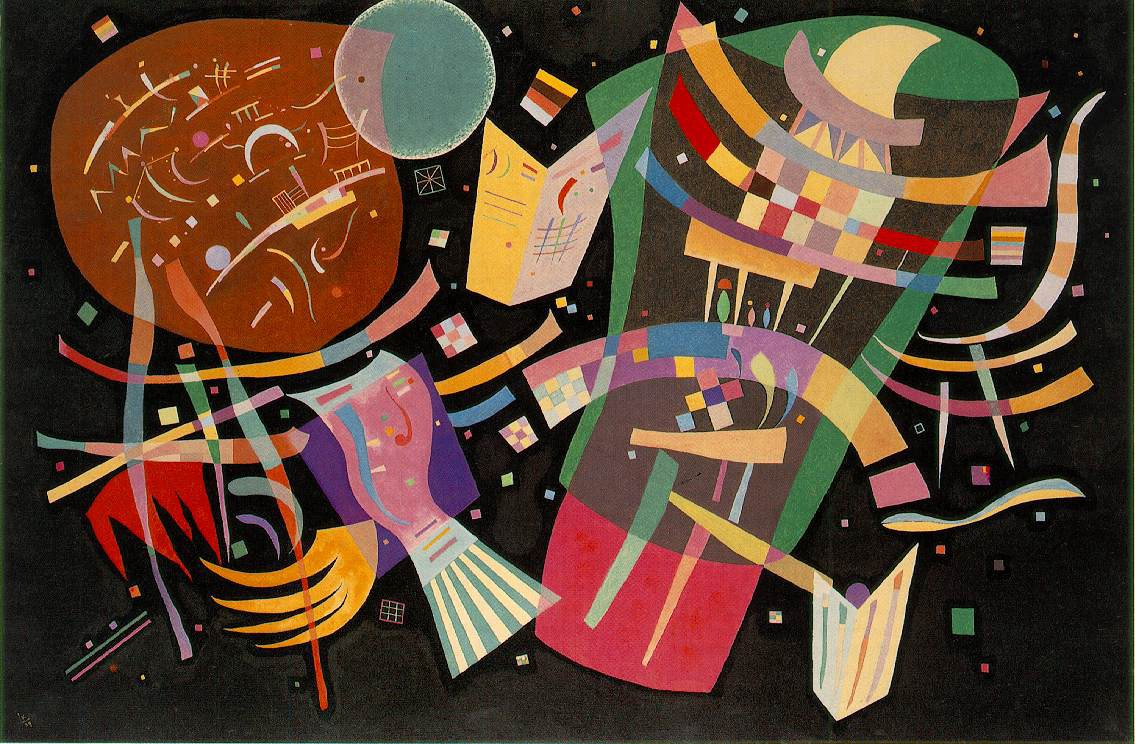 An abstract painting with various shapes