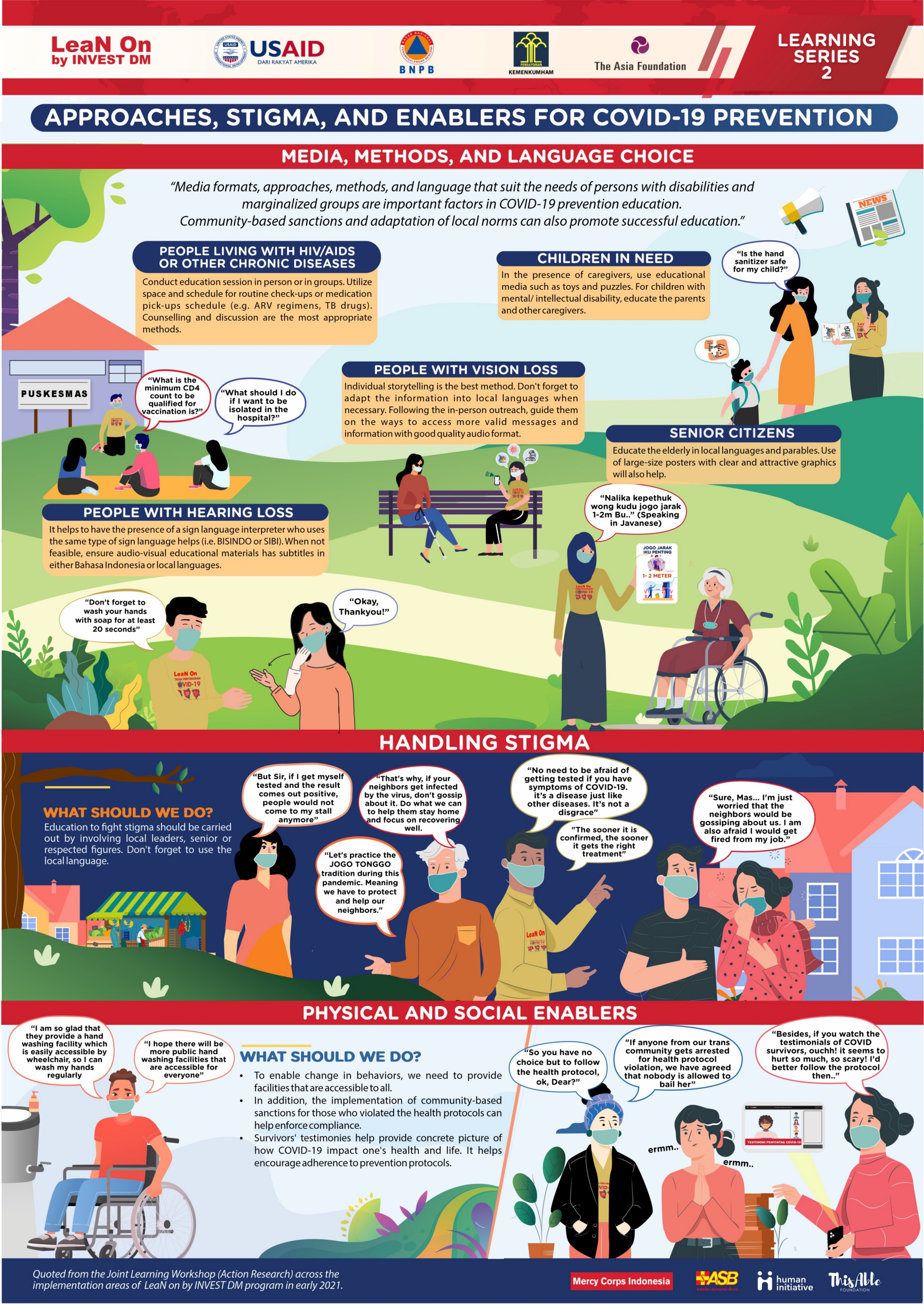 This infographic contains recommendations for educational activities to prevent the spread of COVID-19 targeting people with disabilities and other marginalized members of society. An audio version of the infographic will be added to this page soon.