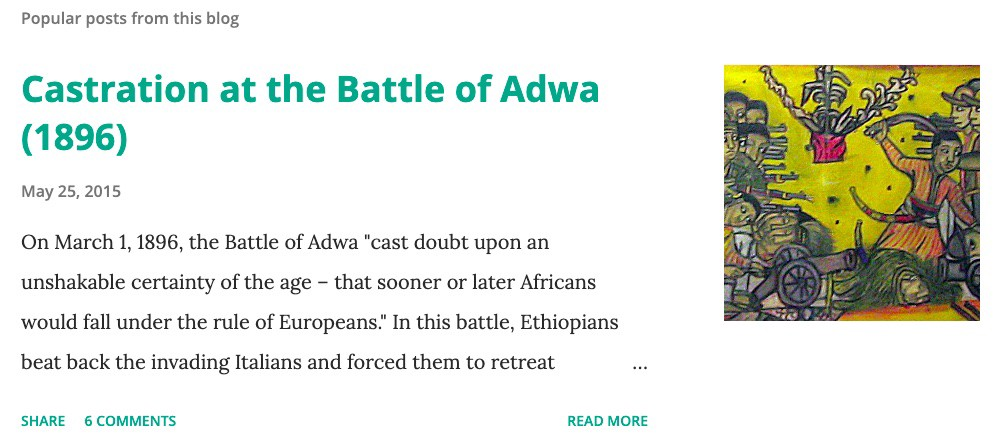 Popular Posts feature showing a text and image preview for the blog post 'Castration at the Battle of Adwa.'