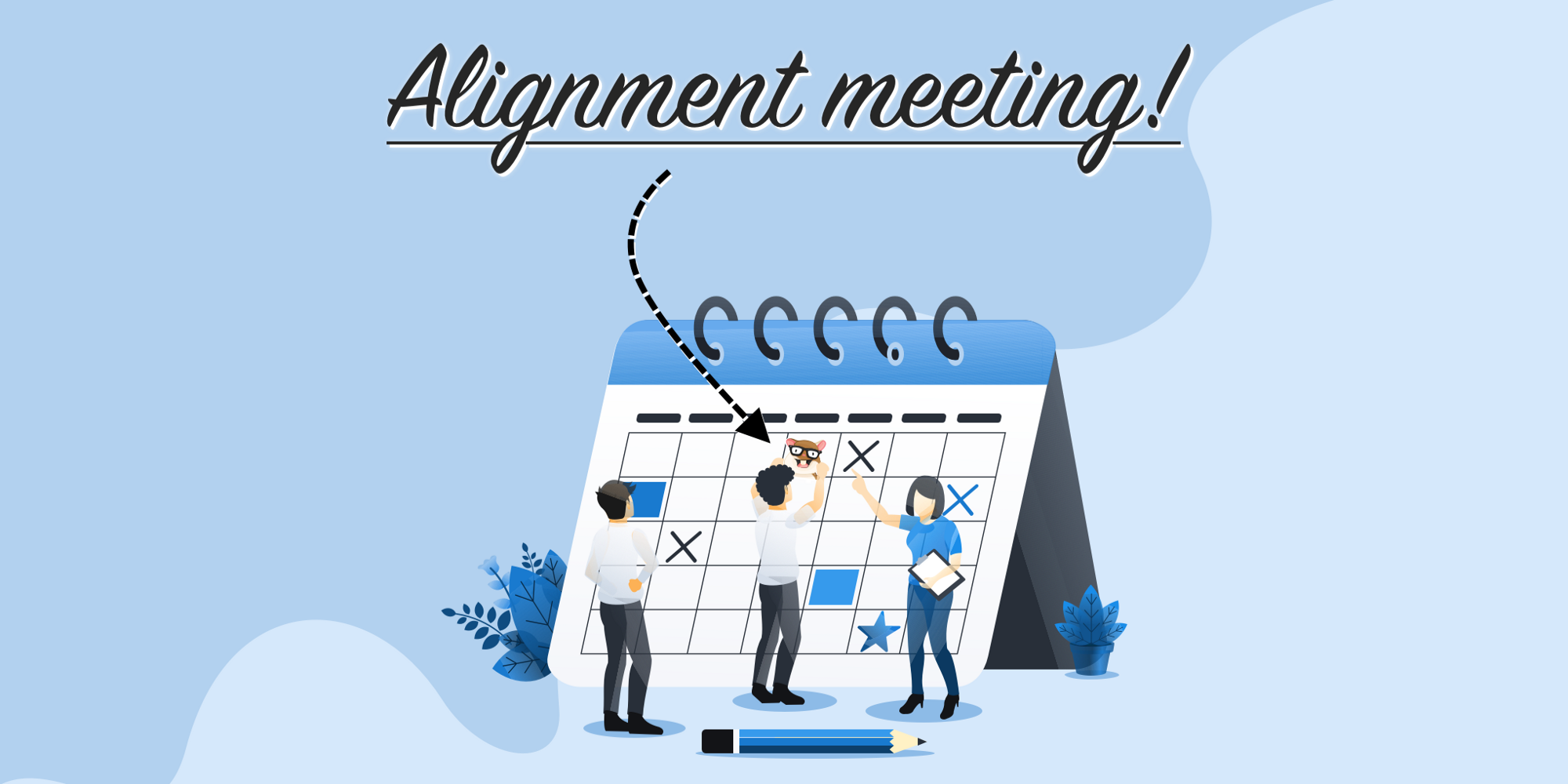 A bunch of people is adding Alignment meeting to a calendar. Instead of a regular cross icon they use Tomster's face.