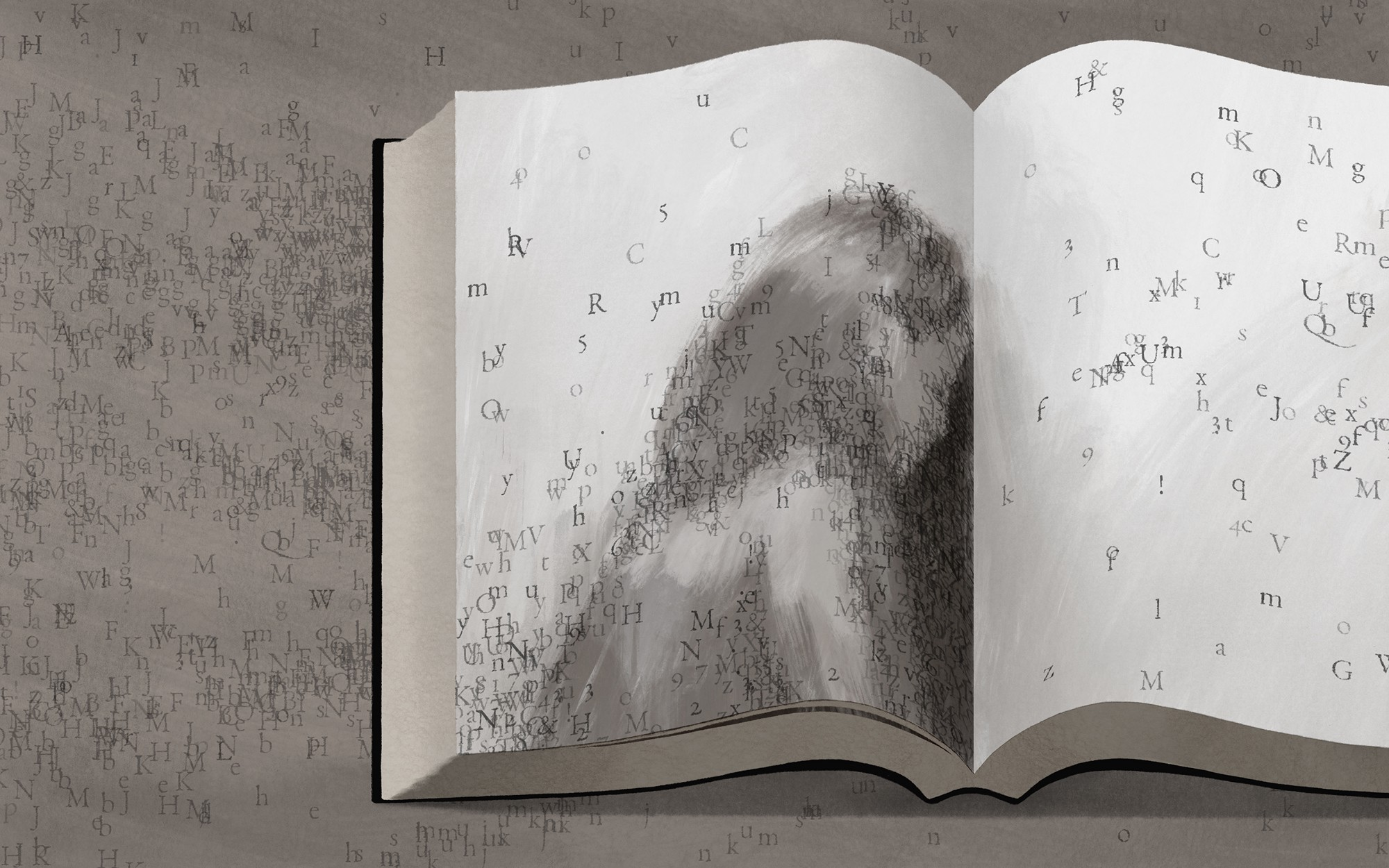An illustration of an open book featuring a woman, with hundreds of individual letters scattered across on and off the page