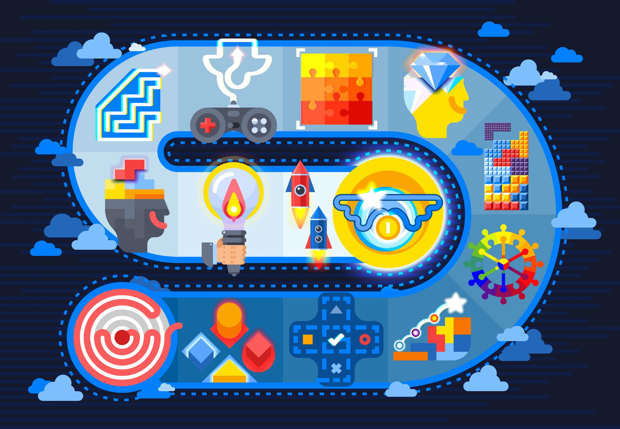 Illustration representing the concept of gamification