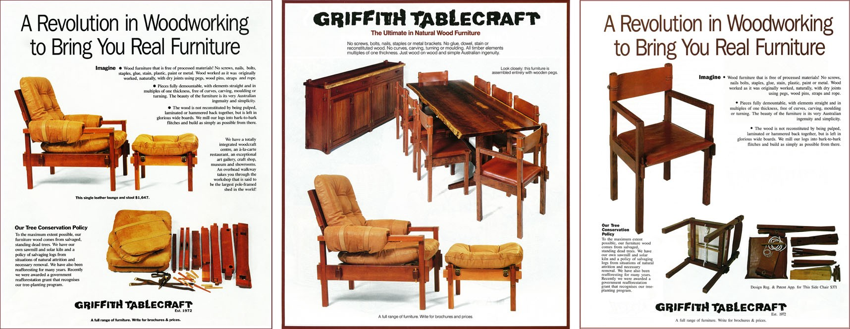 Griffith Tablecraft advertisements that appeared in various magazines