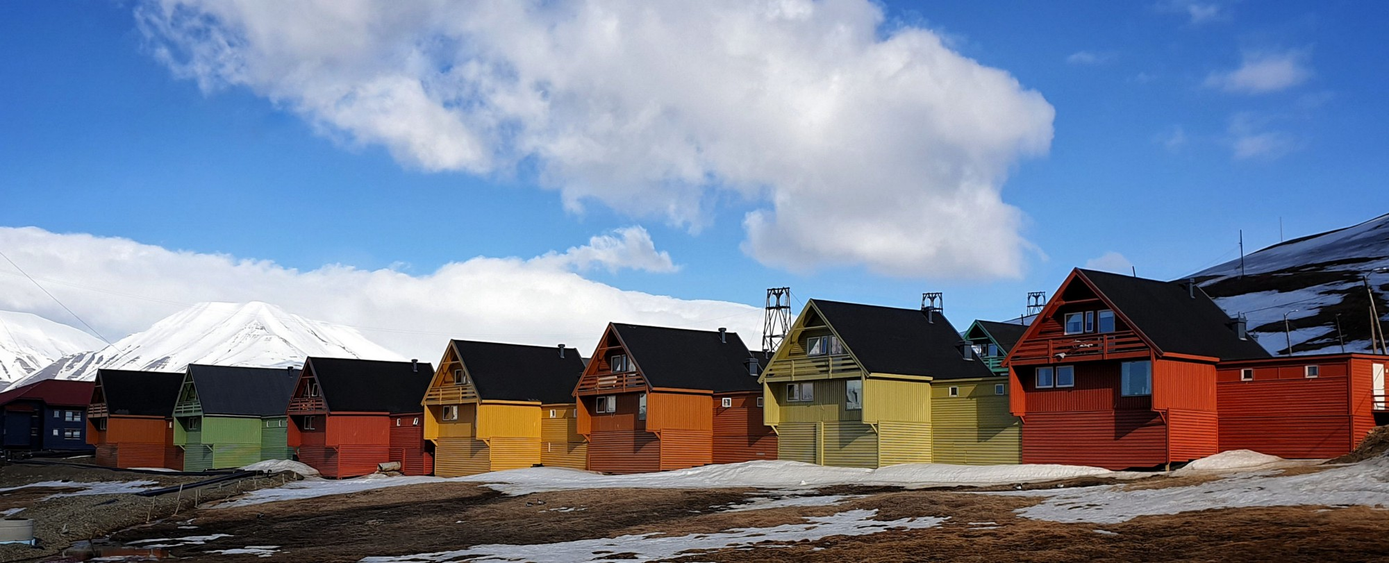 A row of coloful themed houses in Longyearbyen, Svalbard.