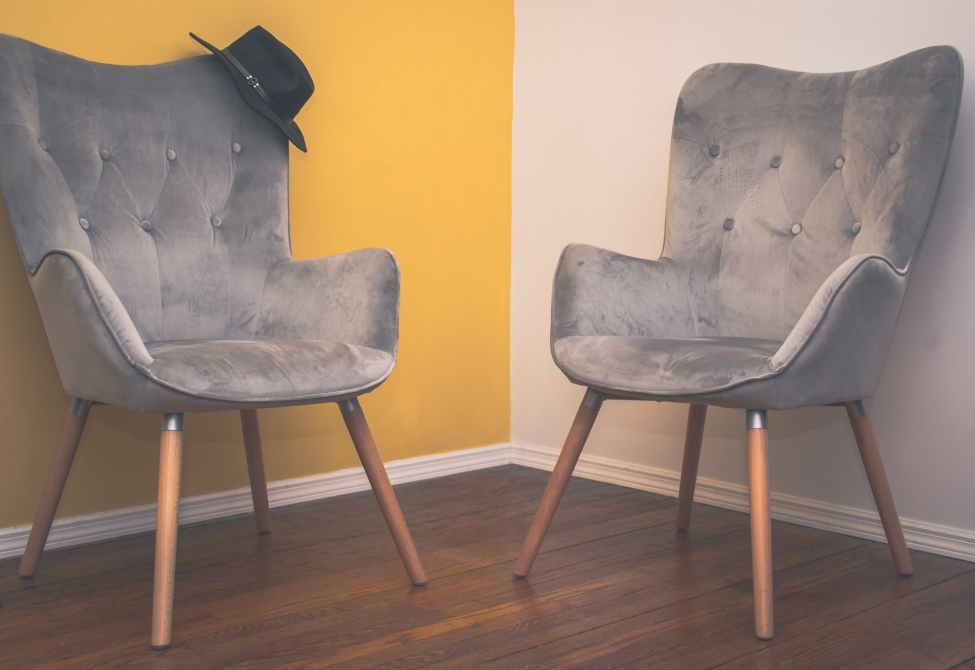 Two chairs facing each other.