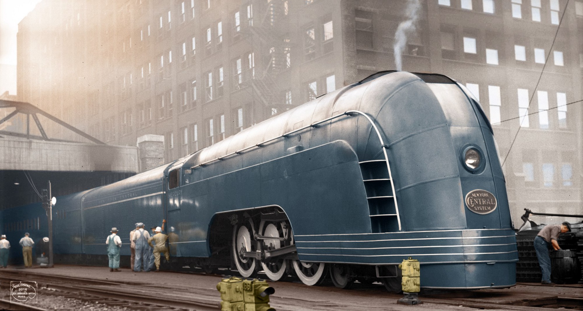 A pale blue art-deco locomotive from 1936.