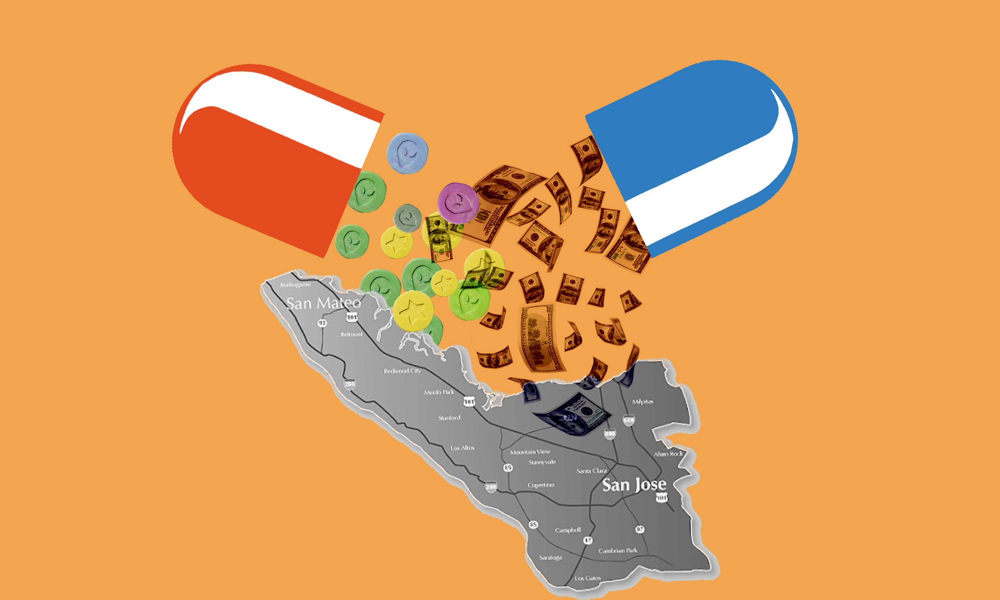 Two half-pills spilling dollar bills and MDMA pills onto an image of the Silicon Valley.