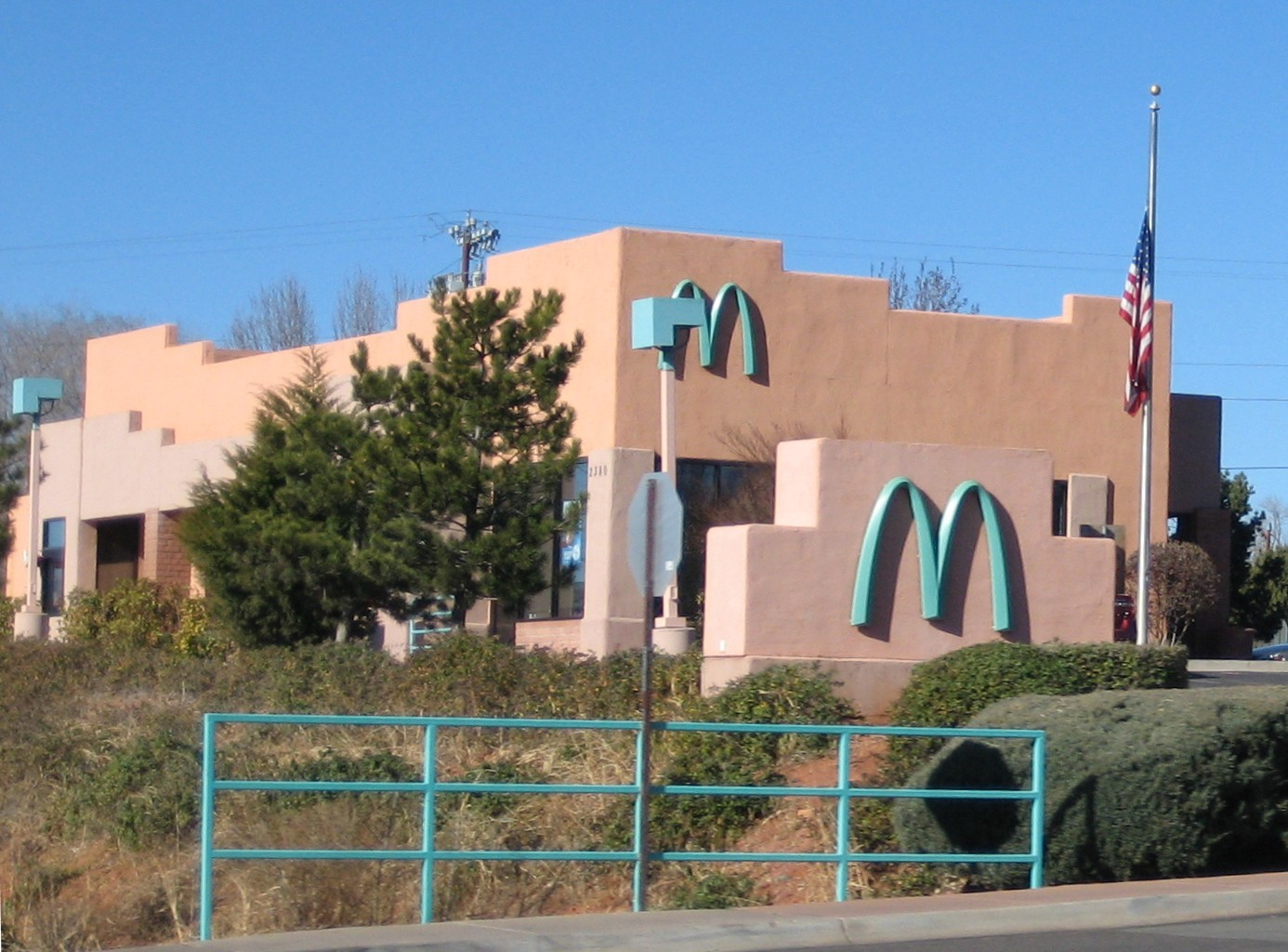 McDonald's with turquoise 'M' arches
