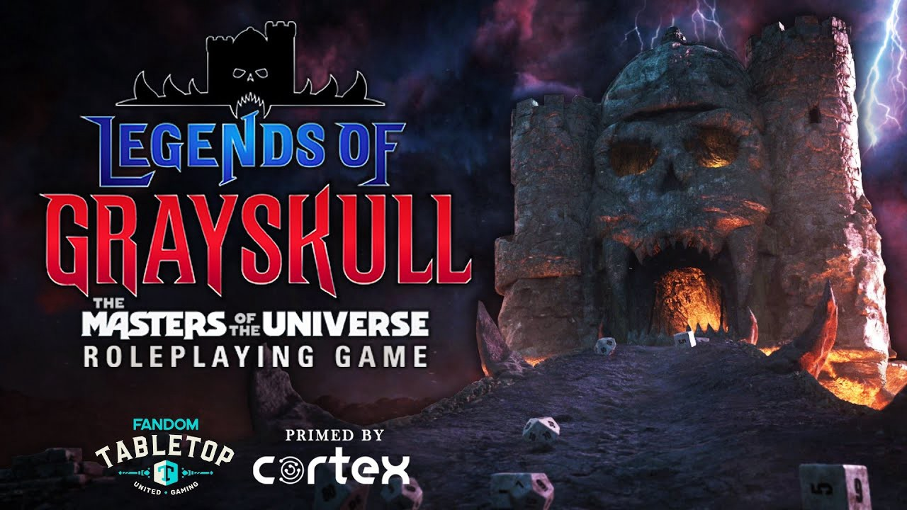 Promotional poster for Legends of Grayskull: The Masters of the Universe Roleplaying Game. The logo fills the left side of the image. The right shows a castle with a skull-shaped front in the background. Several dice are scattered in front of the castle. The sky is covered with purple spooky looking clouds.