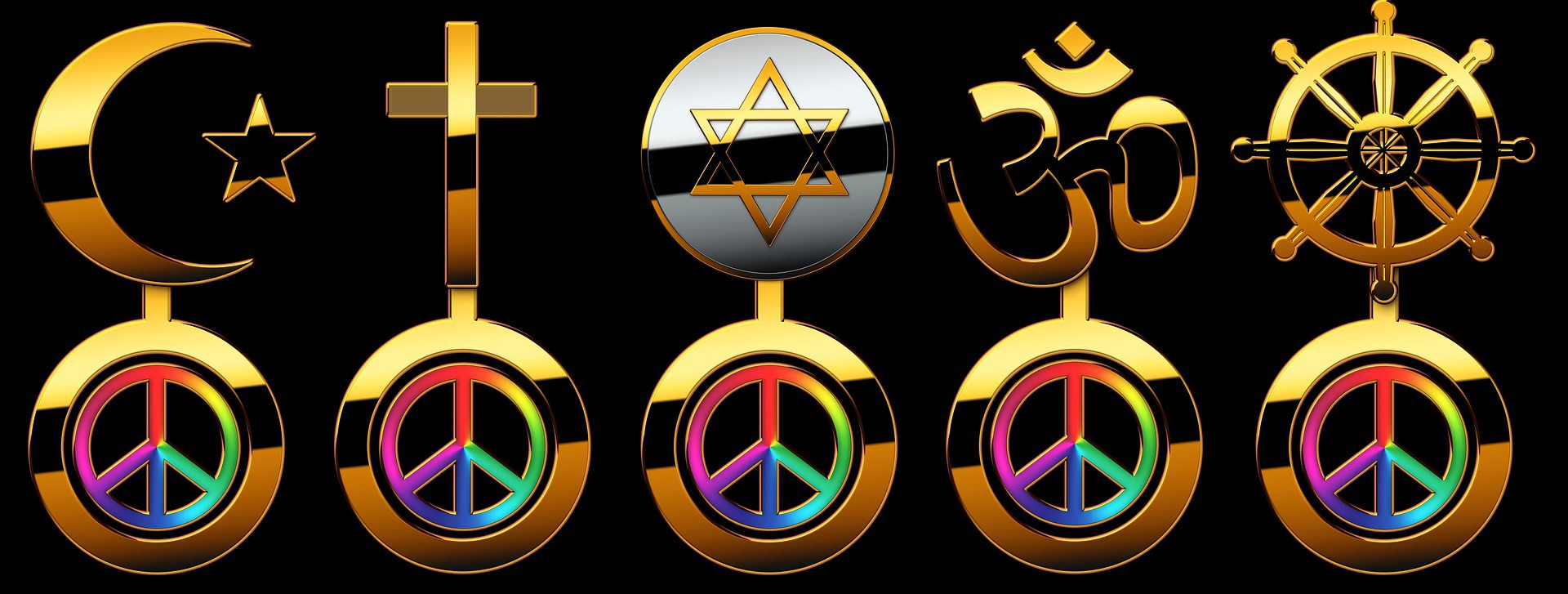 Religious symbols of Christianity, Islam and Hinduism are shown.
