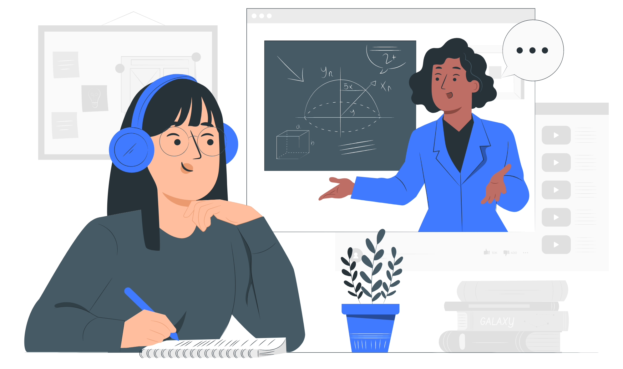 An illustration of a lady learning online