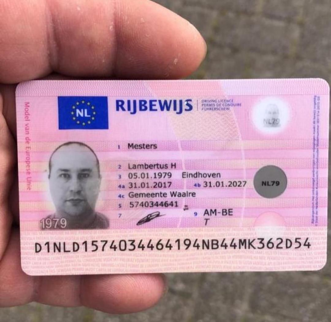 A photograph of a hand holding a Dutch driving license.