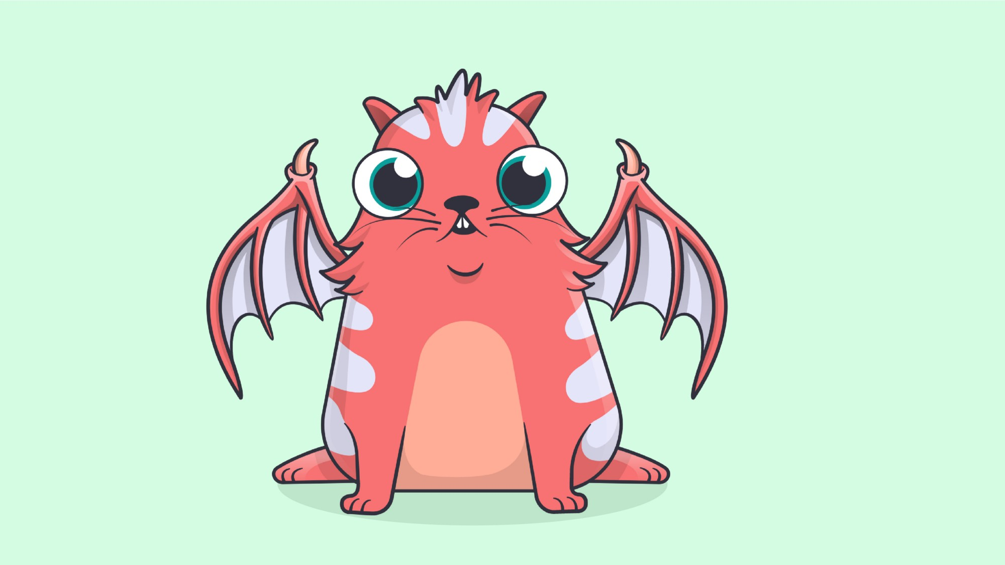 Cartoon CryptoKitty with daemonwings.